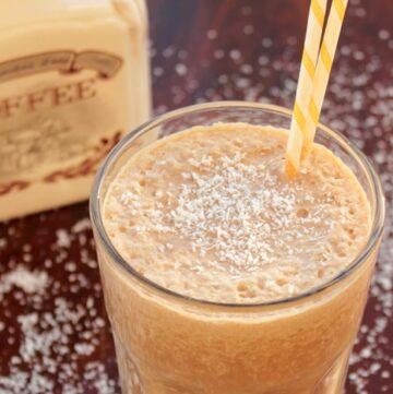 Skinny coffee milkshake served in a tall glass