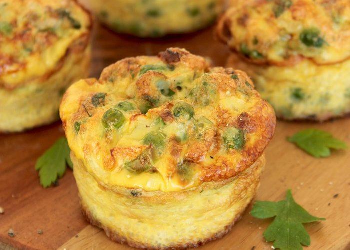 Green Veggies and Feta cheese Mini Frittata vegetarian easy recipe