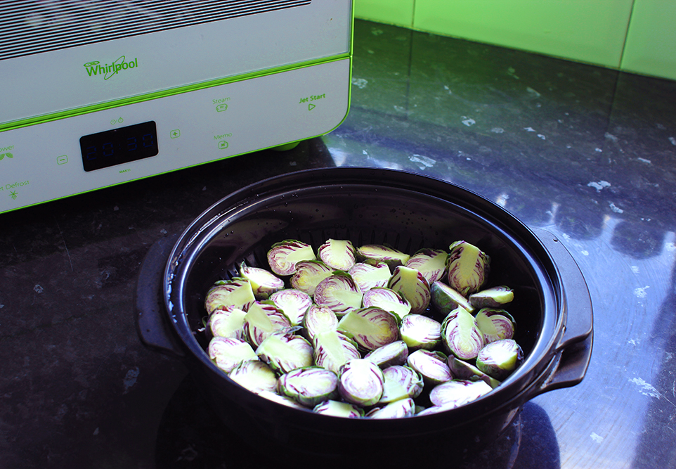 Steam the Brussels Sprouts for 5 mins
