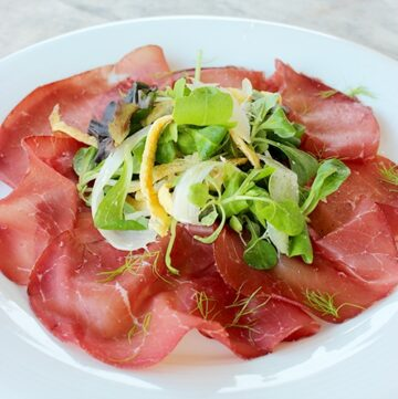Bresaola with Egg ribbons and Green Apple Salad, healthy paleo recipe by the petite cook