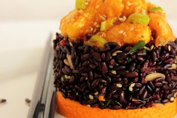 Orange Chicken Black Rice - Traditional Chinese recipe by The Petite Cook