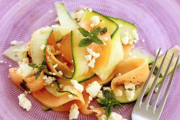 melon and zucchini vegetarian carpaccio - recipe thepetitecook.com