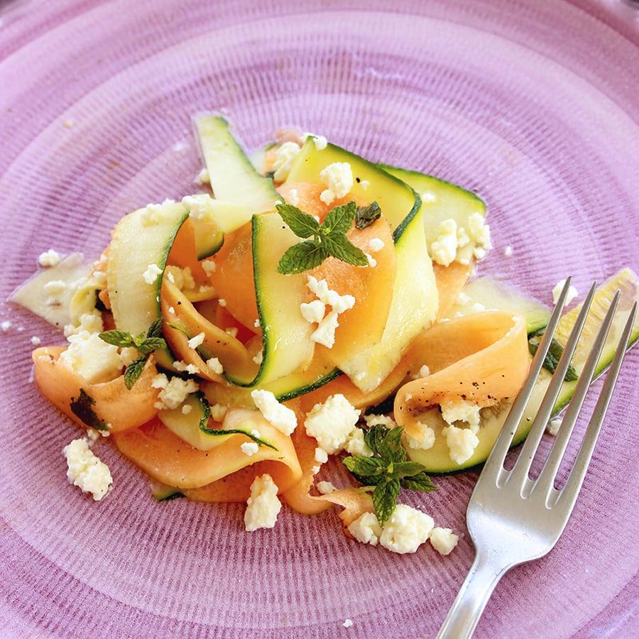 Light Melon Amp Zucchini Carpaccio Salad The Petite Cook
