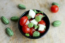 Give a twist to the classic italian caprese salad and add some awesome micro melons for a refreshing summer treat! Light Healthy recipe by The Petite Cook
