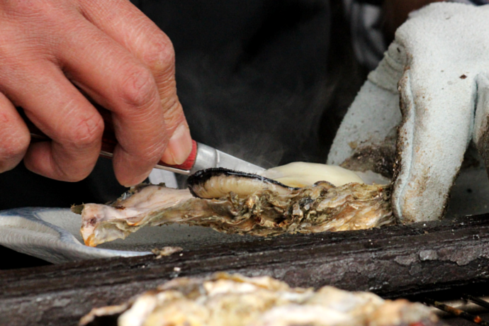 Japanese traditional grilled oysters hiroshima