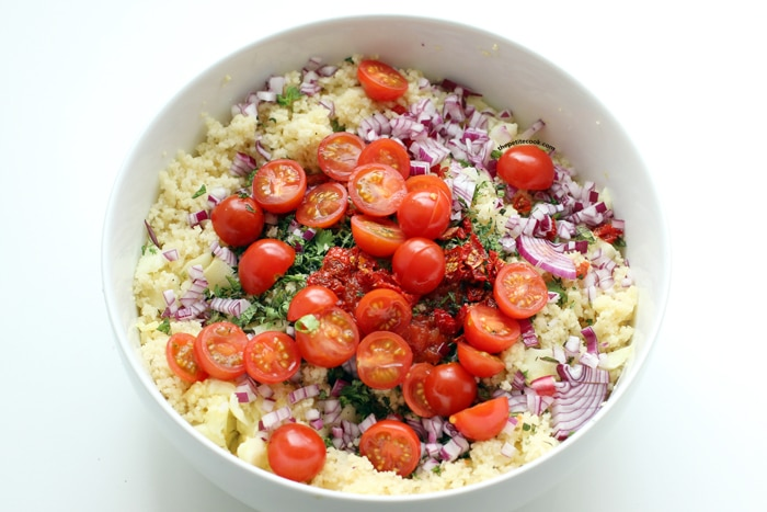 cous cous salad in a large bowl