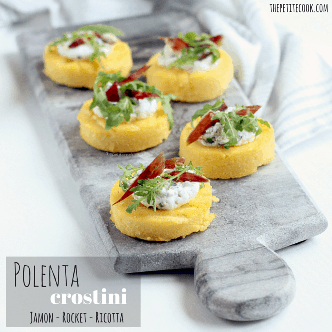 Polenta Crostini With Jamon, Ricotta and Rocket - Gluten-free Recipe by The Petite Cook