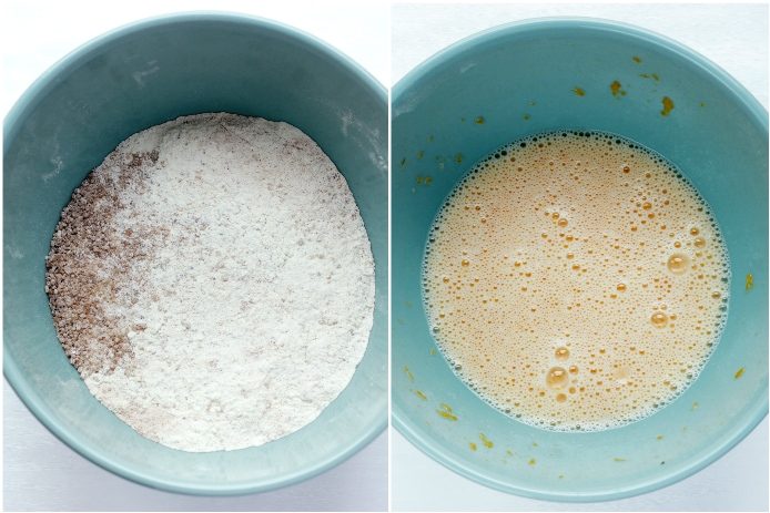 recipe step 1 and step 2 collage: bowl with dry ingredients, next to a bowl with wet ingredients.