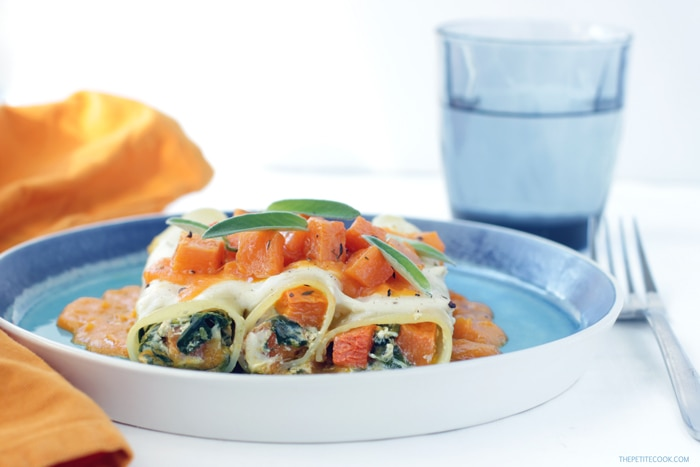 Vegetarian Ricotta, Spinach and Pumpkin Cannelloni - An Easy-to-make, super light recipe that turns comfort food into a special meal perfect to celebrate fall season. Recipe from thepetitecook.com