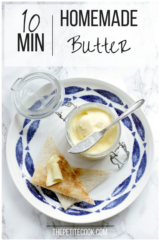 homemade a2 milk butter in jar with knife over it, bread toasted with butter on top on a large white and blue plate, image optimized for Pinterest