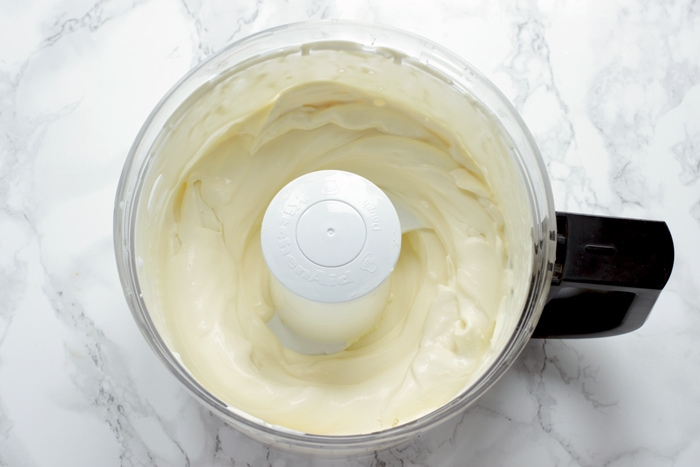 whipped cream in a food processor