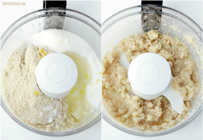 recipe method collage, step 1 and 2: all the ingredients in the bowl of a food processor in the first image, all the ingredients mixed in the bowl of a food processor in the second image.