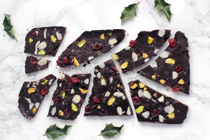 Christmas chocolate bark cut into pieces