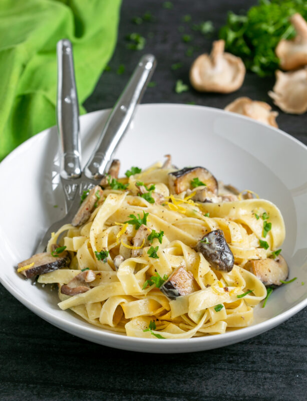 shiitake mushroom tagliatelle pasta in a plate