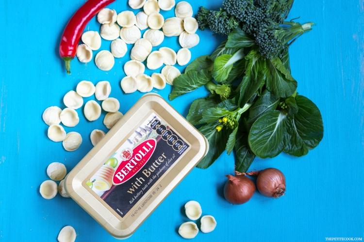 bertolli package, orecchiette, sporuting broccoli, onion, red chili pepper