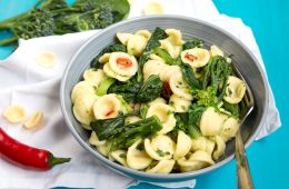 Orecchiette with Sprouting Broccoli- This delicious 5-Ingredient orecchiette pasta dish is quick and easy to make. A lovely combination of spring greens, traditional Italian pasta and spicy red chili for a healthy vegetarian meal that will blow your taste buds! recipe by thepetitecook.com