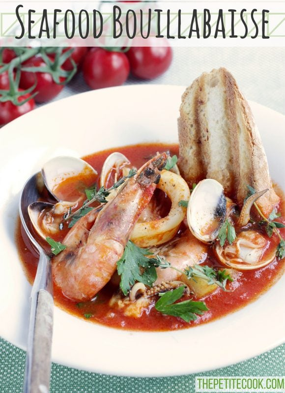 This simple Seafood Bouillabaisse is love at first spoon - Filled with aromatic Mediterranean flavors infused in a delicate saffron aroma, this light and easy version is ready in 30 mins and naturally gluten-free and dairy-free. Recipe from thepetitecook.com