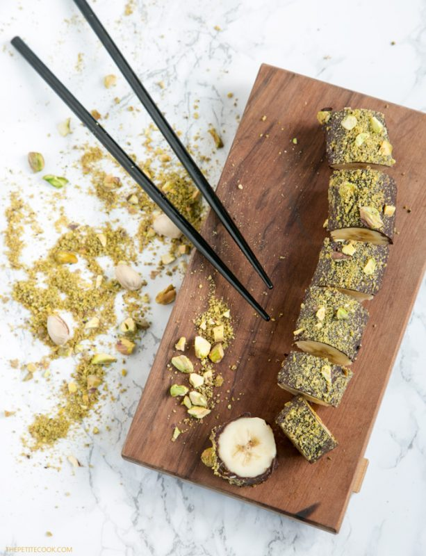 chocolate banana sushi with pistachios