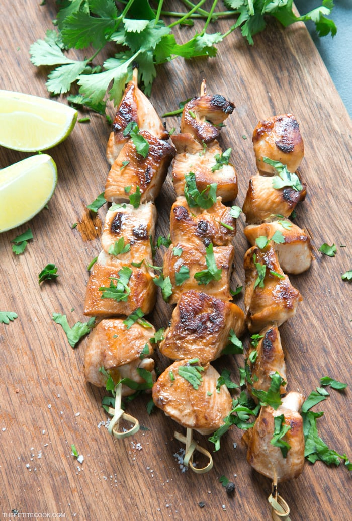 Juicy, tender, tangy, crispy, deliciously savory. These Beer Lime Chicken Skewers are a light but tasty addition to any BBQ party. And quick enough to be made during the work week for an easy fuss-free dinner option. Recipe from thepetitecook.com
