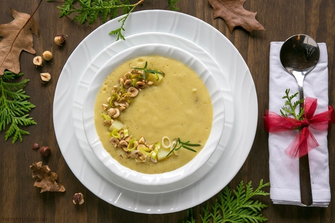 Leek and Potato soup is such a classic hard-to-beat dish, and will make a great starter for your dinner parties! This version is also conveniently vegan, gluten-free and dairy-free! Recipe by thepetitecook.com