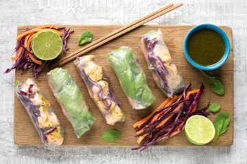 Bright, fresh and super healthy, these Vietnamese Salmon Summer Rolls are nutritious, gluten-free, dairy-free and ready in just 15 mins! Recipe from The Petite Cook - thepetitecook.com