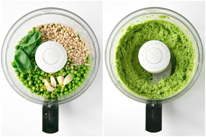 pea pesto recipe process in 2 images: first image shows all the ingredients in a food processor, the second images shows all the ingredients blended into pea pesto sauce