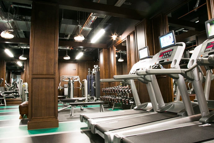 gym of The Courtain hotel with various machines
