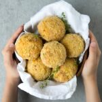baked arancini with salmon and pea