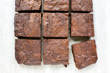 espresso brownies cut into squares, arranged in a grid style, with the brownie in the left down corner slightly in an oblique position.