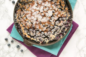 A French classic dessert, this Blueberry Clafoutis is incredibly easy to make with very simple ingredients. Packed with flavour and easy to customize with your favourite fruits, this clafoutis makes a lovely dessert or rich breakfast alike! Recipe by The Petite Cook