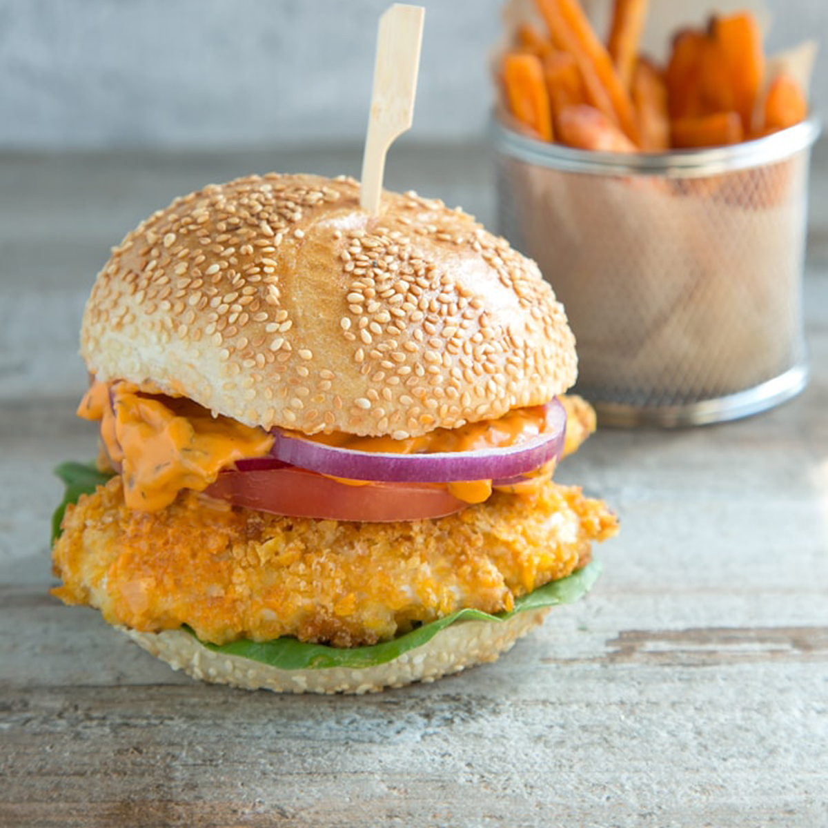 Oven Fried Chicken Burger With Spicy Mayo The Petite Cook