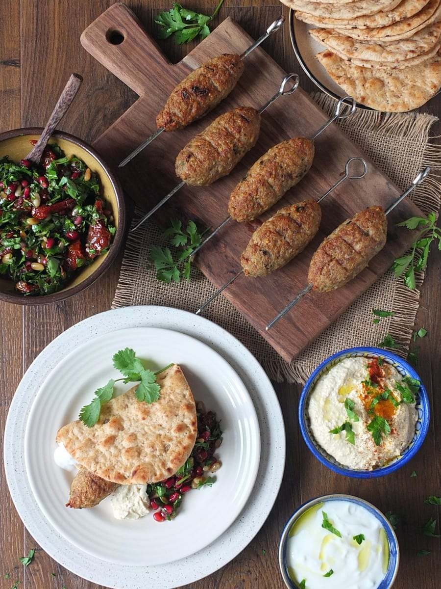 grilled lamb kibbeh skewers