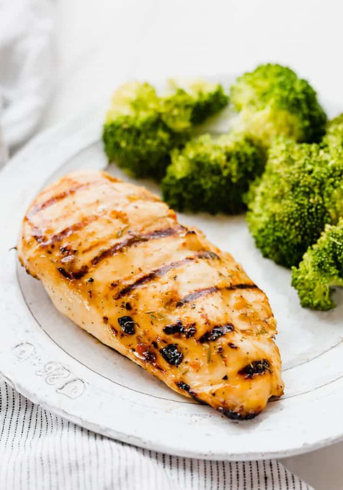 marinated chicken breast with broccoli on the side