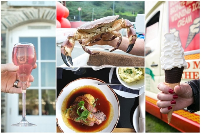 Reasons to visit Isle of Man picture collage: first image shows hand holding rhubarb wine, 2nd image showing sunday roast on a plate, 3rd image showing close up of crab alive, 4th image shows hand holding Manx vanilla ice cream cone with ice cream van in the background.