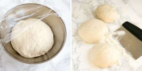pizza dough resting in a bowl, small pizza bowl on marble surface