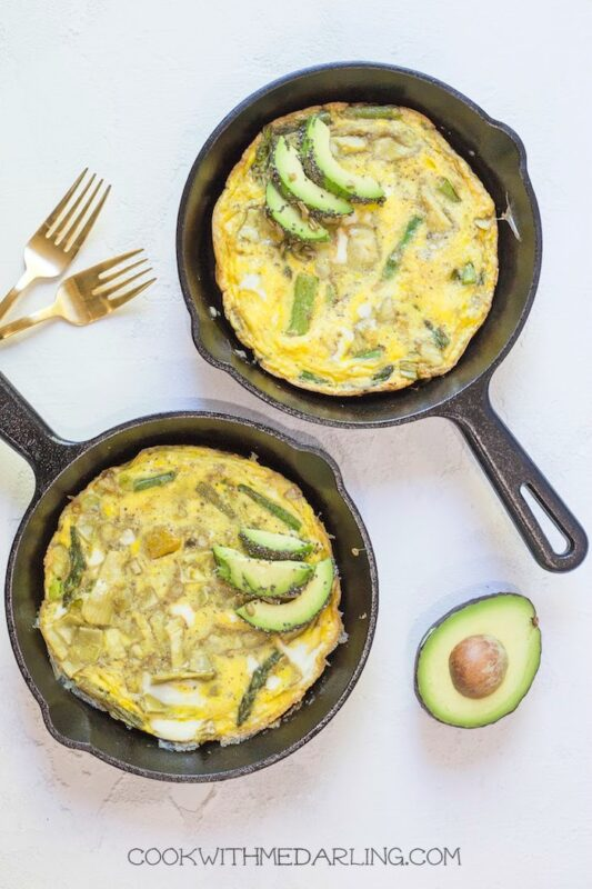 spring frittata with seeded avocado