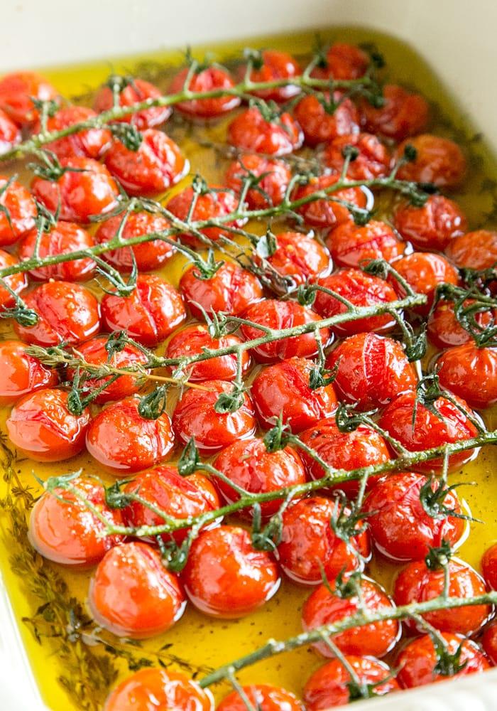 tomato confit in baking dish