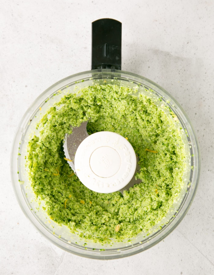 creamy broccoli pesto pasta sauce inside food processor