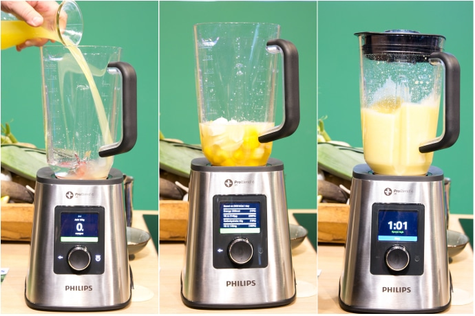 philips blender collage, first image hand pouring juice into jug, second image shows ingredients into the jug, third image shows blended smoothie in jug