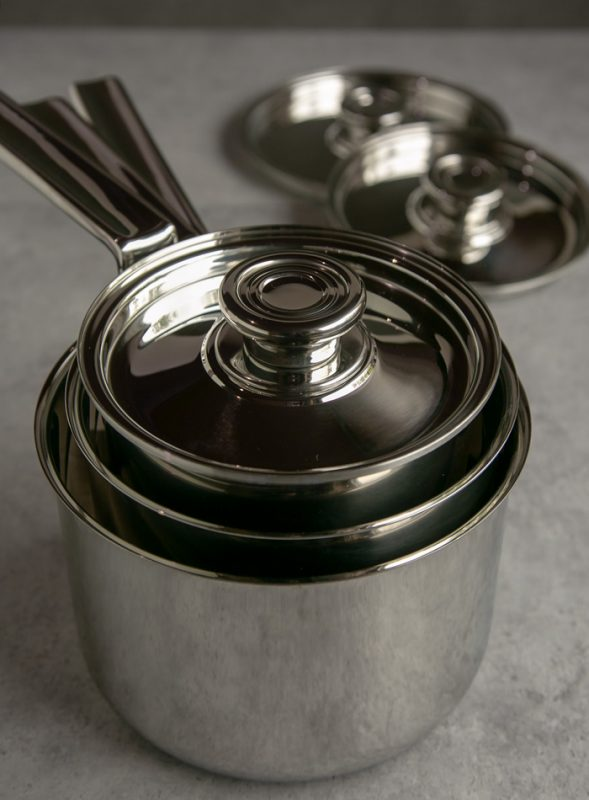 foodie gift guide: 3 piece stacked saucepan set, lids in the background