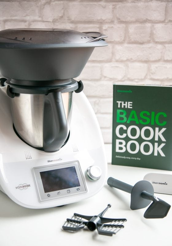 foodie gift guide: Thermomix with cookbook and accessories.