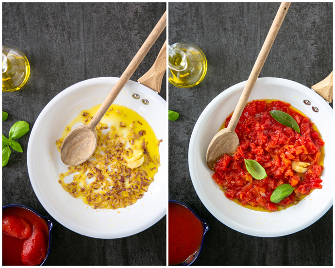 tomato sauce recipe step 2, collage of 2 images: first image of white pan with stir-fried onion and garlic in olive oil, second image of white pan with stir-fried onion, garlic, chopped tomatoes, basil leaves and bay leaf.