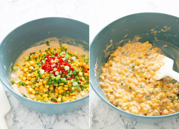 collage of cooking process . First image bowl with batter topped with sweetcorn kernels, chopped spring onions, coriander, red chilli, next to a spatula. Second image bowl with mixed fritters batter, and spatula.