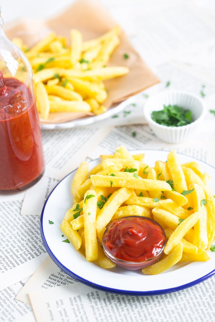 Homemade ketchup with french fries.