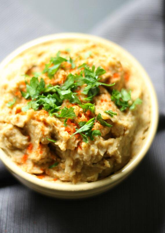 baba ganoush hummus topped with cilantro