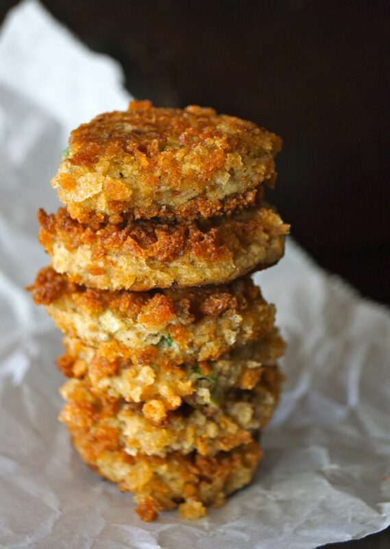 stack of eggplant cakes on baking paper
