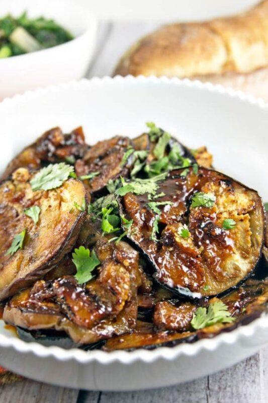 moroccan honey glazed eggplant in a dish