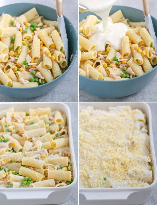 recipe method step 3: collage of 4 images shows pasta mixed with tuna, sweetcorn and peas in the first image, white sauce added into the pasta mix in the second image, prepared pasta transferred in a baking dish in the thrid image, pasta topped with cheese and remaining white sauce in the fourth image.