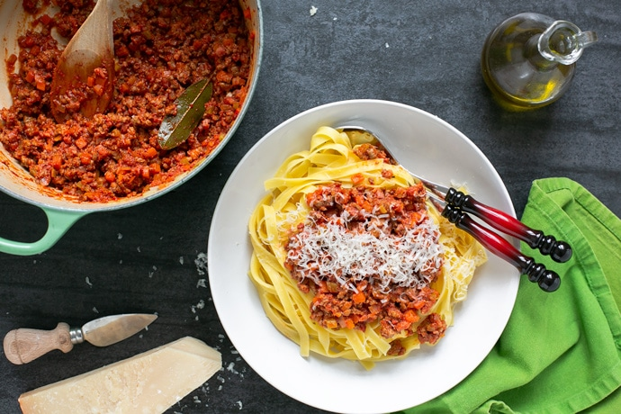 traditional bolognese sauce served with tagliatelle pasta