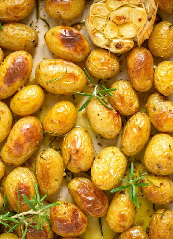 roasted potatoes in a large baking dish